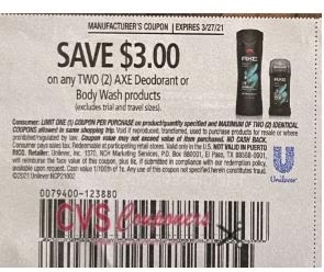 """$3.00/2 Axe Body Wash Coupon from """"SMARTSOURCE"""" insert week of 3/14/21"""