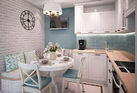 Small Scandinavian kitchen ideas with small dining area