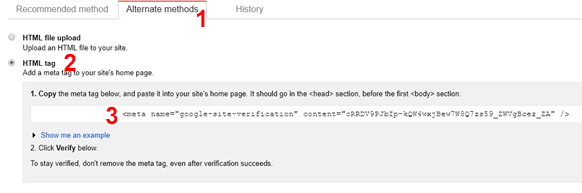 Google Webmaster Tools: Verify website using HTML Tag.