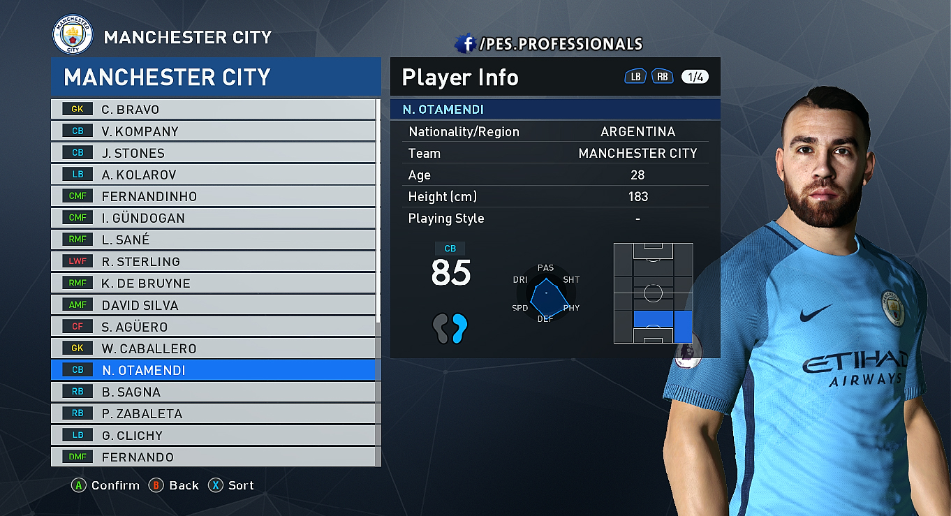 Otamendy FACE PES Professionals V1