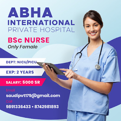 Urgently Required Staff Nurses to Abha International Private Hospital