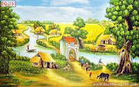 Tranh làng quê thanh bình
