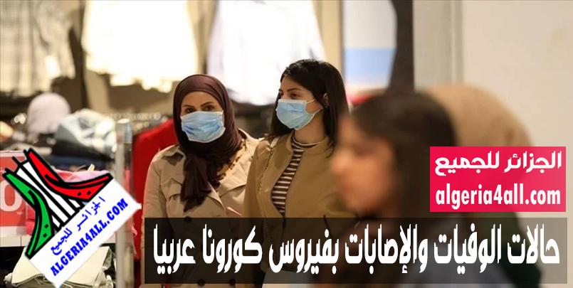 حالات الوفيات والإصابات بفيروس كورونا عربيا