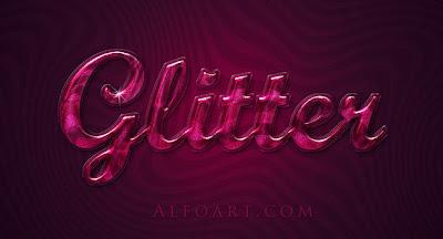 efecto texto cristal en tonos rosas