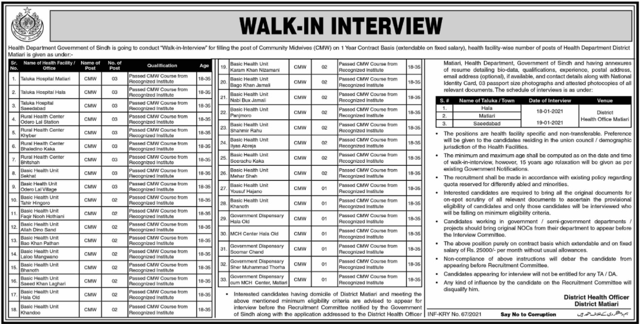 65+ Posts in Health Department Government Of Sindh For Community Midwifes (CMW) Jobs 2021 Walk-In Interview
