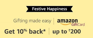 Amaazon Gift Card Discount 10% Cashback on purchase of Amazon Email Gift Cards*. Max cashback up to Rs. 200.