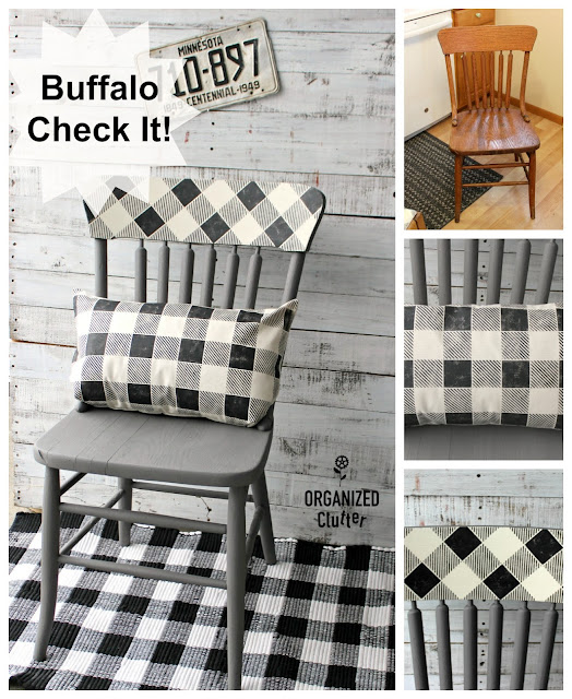 A Garage Sale Dining Chair Upcycle With Pillow #buffalocheck #buffaloplaid #upcycle #oldsignstencils #dixiebellepaint #stencil