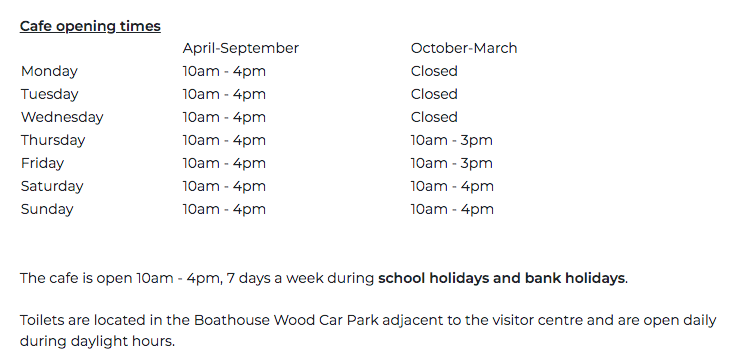 A Guide to Visiting Bolam Lake, Northumberland  - cafe opening times