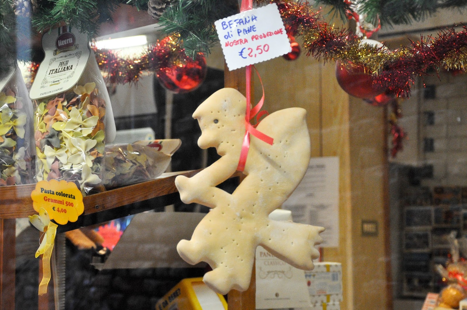 Baked Befana, Bakery shop window, Venice, Italy