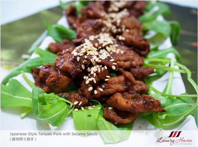 japanese style teriyaki pork with sesame seeds