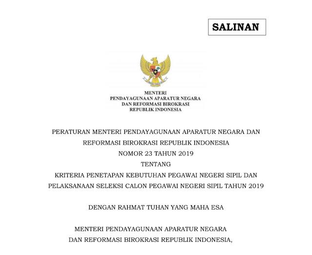Kisi-Kisi Test SKD CPNS 2019-2020 Berdasarkan PemenPANRB Nomor 23 Tahun 2019