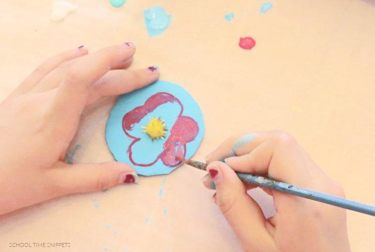 painting cardboard flowers