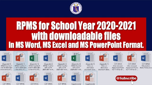 RPMS for SY 2020-2021 Converted in MS Word, MS Excel, and MS PowerPoint