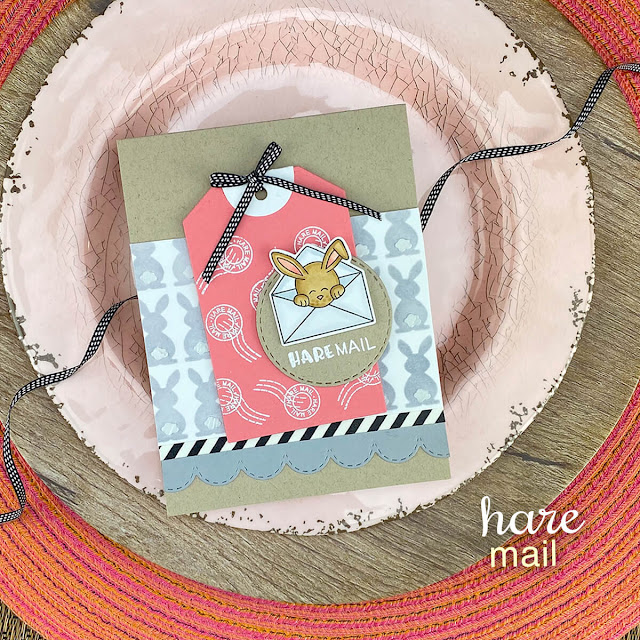 Hare Mail Bunny Card by Jennifer Jackson | Hare Mail Stamp Set, Bunny Tails Stencil, Fancy Edges Tag Die Set and Circle Frames Die Set by Newton's Nook Designs