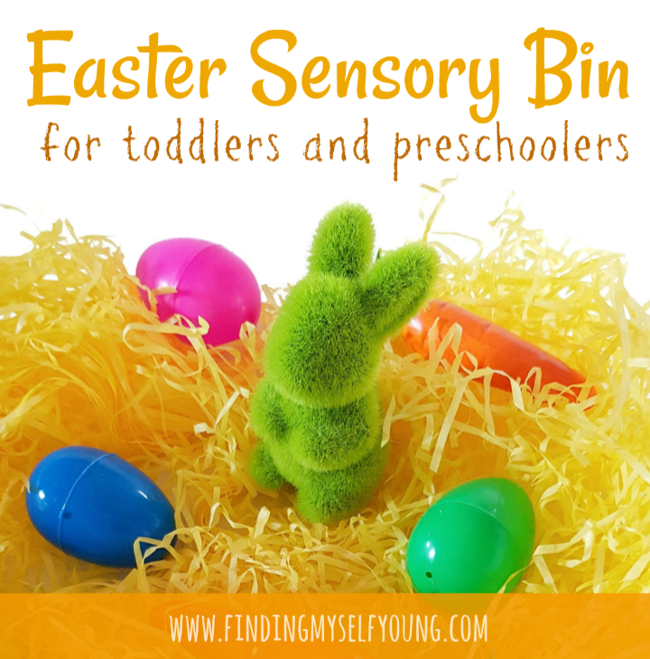 easter sensory bin for toddlers by Finding Myself Young