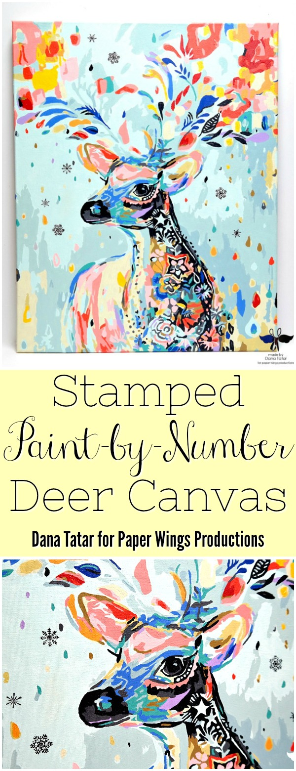 Stamped Paint-by-Number Deer Canvas by Dana Tatar for Paper Wings Productions