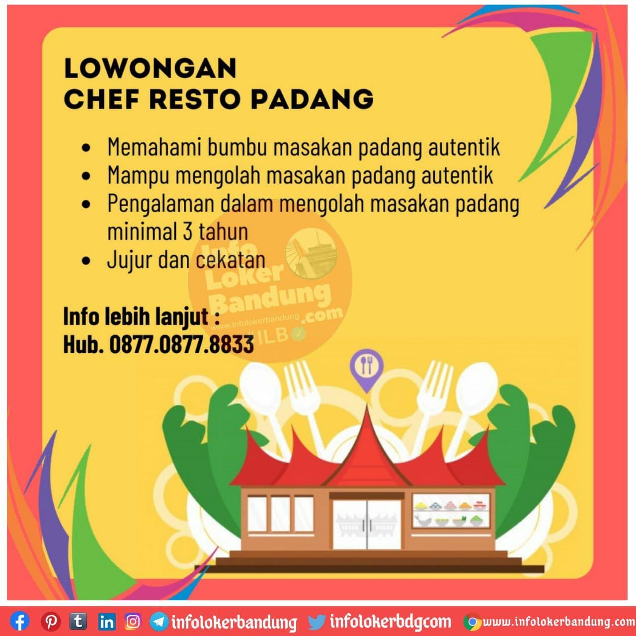 Lowongan Kerja Chef Resto Padang Bandung November 2020