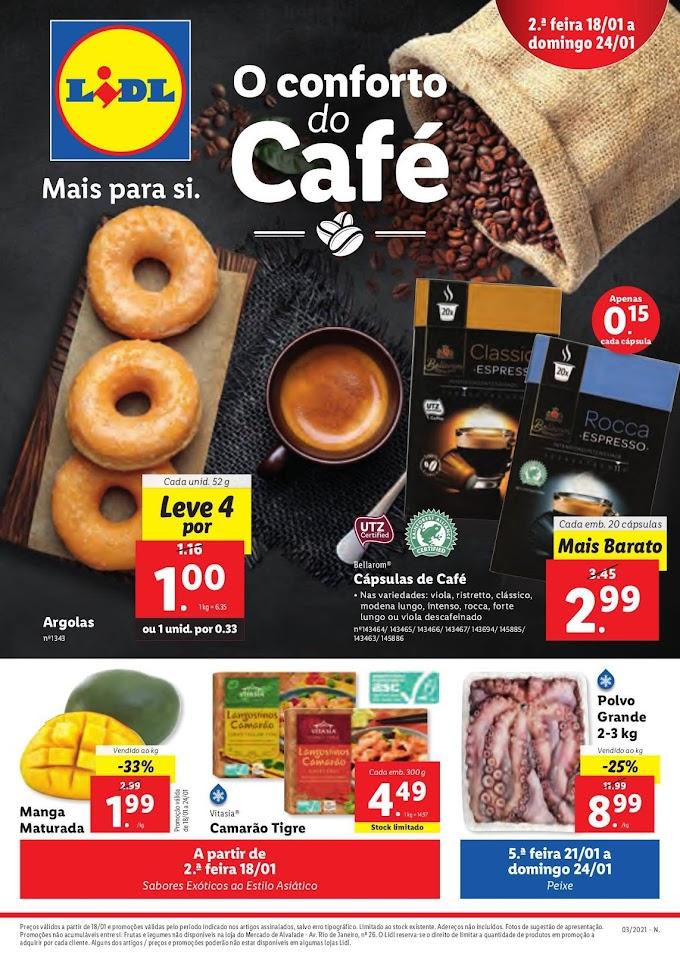 Folheto Lidl - O Conforto do Café, numa seleção de produtos em promoção de 18 a 24 janeiro