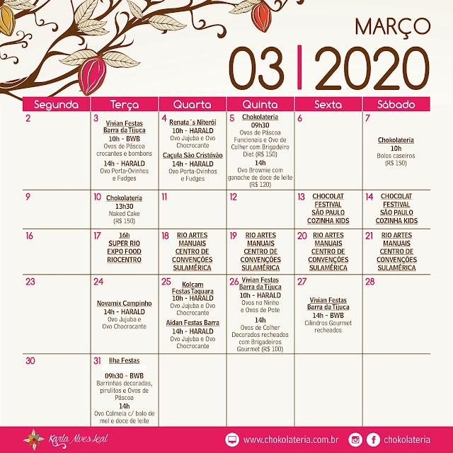 Aulas de Confeitaria Criativa - Março 2020