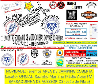 1º ENCONTRO SOLIDÁRIO DE MOTOCICLISTAS DO VALE DO RIBEIRA (MDVD-R)