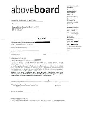 "Scan: Mandat Aboveboard Trading Ltd. ""Deutscher Gewinnspielclub"""