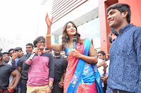 Puja Hegde looks stunning in Red saree at launch of Anutex shopping mall ~ Celebrities Galleries 143.JPG