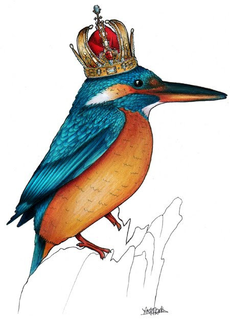 Birds in Hats kingfisher in a crown