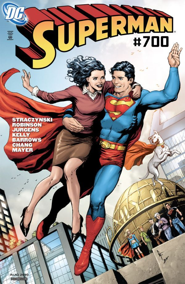 Superman in flight holding Lois Lane, their free arms held palms out and legs awkwardly splayed, as friends look on from room of Daily Planet building