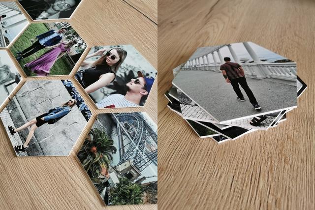 persoonlijke wanddecoratie met hexagon fotocollage van fotocadeau canvascompany review interieur blog wonen fotowand inspiratie