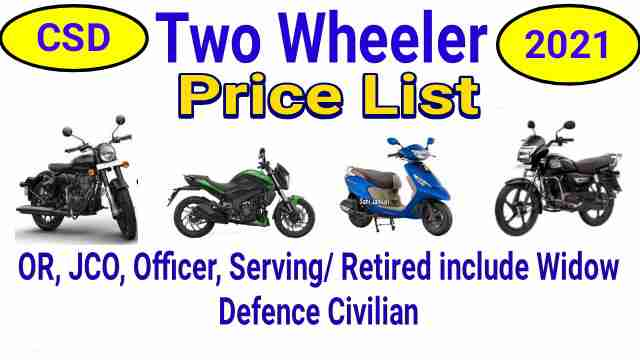 CSD Two Wheeler Price List 2021