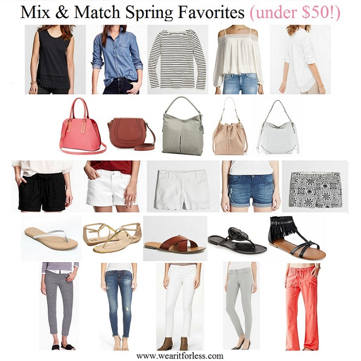 Merona Crochet Trim Shell $13 (reg $18) Old Navy Chambray Button-Down Shirt $19 (reg $30) J. Crew Factory Long-Sleeve Striped Boatneck T-Shirt $30 (reg $50) Dex Crochet Trim Cold Shoulder Blouse $39 (reg $69) White House Black Market Split-Back Pleated Poplin Shirt $40 (reg $88) Old Navy Printed Mid-Rise Pixie Ankle Pants $26 (reg $35) see my friend Taylor wearing them here SP Black Distressed Raw Hem Skinny Jeans $32 (reg $54) American Rag White Skinny Jeans $35 (reg $60) The Limited Exact Stretch Skinny Pants $42 (reg $70) Guess Linen Cargo Pants $47 (reg $79) Old Navy Cuffed Linen Shorts $18 (reg $25) Old Navy Boyfriend Shorts $20 (reg $25) J. Crew Factory Scalloped Hem Shorts $25 (reg $50) Kensie Jeans Distressed Shorts $25 (reg $48) J. Crew Factory Printed Chino Shorts $30 (reg $50) LC Lauren Conrad Flip Flops $8 (reg $20) DV by Dolce Vita Archer $28 (reg $69) J. Crew Factory Seaside Sandals $36 (reg $60) Jack Rogers Georgica Jelly Flip Flop $37 (reg $50) - I just ordered these! Indigo Rd Cross Flat Fringe Sandals $40 (reg $49) - extra 15% off w/ code BLOOM Apt 9 Lenox Dome Convertible Satchel $27 (reg $55) French Connection Liza Faux Leather Crossbody Bag $42 (reg $78) Liz Claiborne Park Slope Hobo Bag $39 (reg $65) Neiman Marcus Metallic Trim Faux Leather Bucket Bag $46 (reg $100) Jessica Simpson Cindy Large Hobo $50 (reg $118)