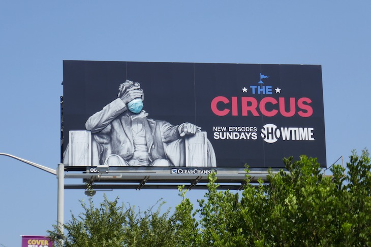 The Circus Covid-19 mask President Lincoln billboard