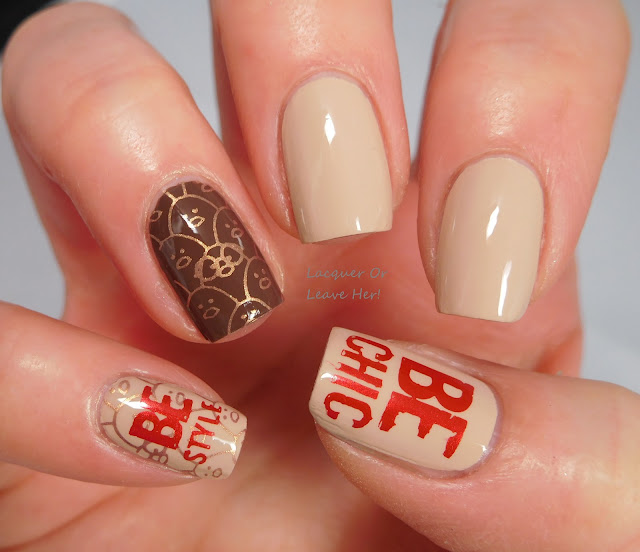 Lina Nail Art Supplies Hipster, Chic, or Geek? over Zoya Tatum and Gina, stamped with Hit The Bottle polishes
