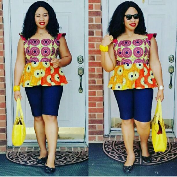 Ankara top with short jeans