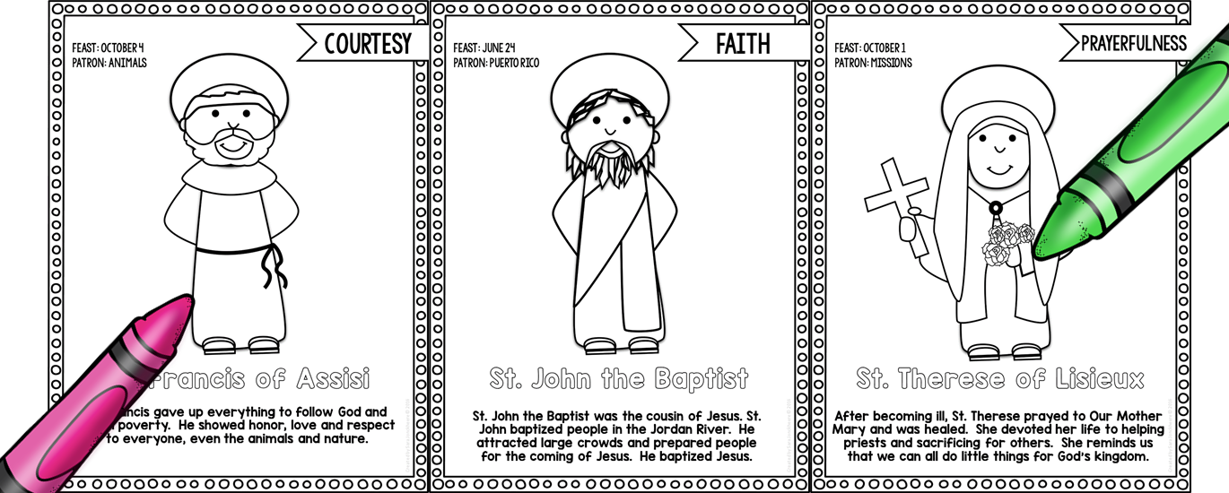 Catholic Saints Coloring Books | Sara J Creations