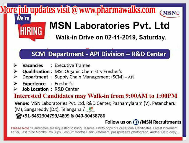 MSN Laboratories - Walk-in interview for Freshers on 2nd November, 2019 @ Hyderabad