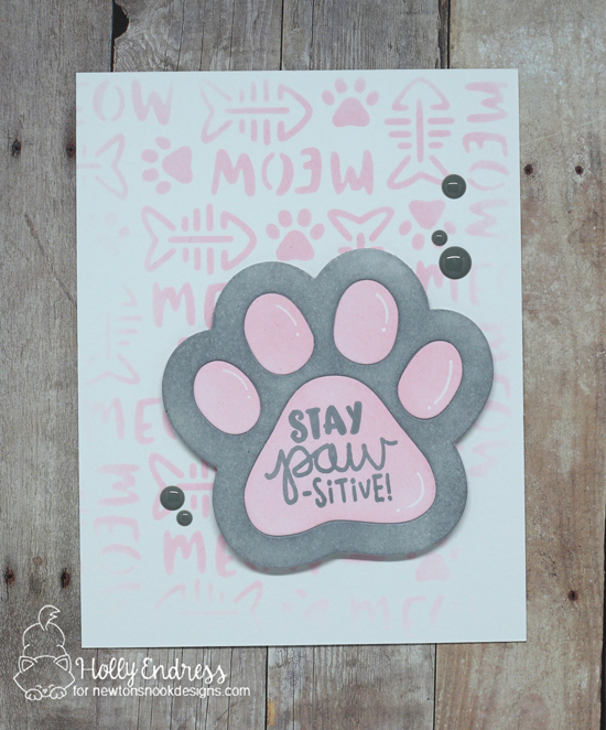 Pawprint Cat Card by Holly Endress | Cat-itude Stamp Set, Pawprint Shaker Die & Meow Stencil by Newton's Nook Designs #newtonsnook #handmade