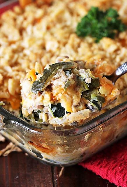 Pan of Cheesy Zucchini & Sausage Casserole Image