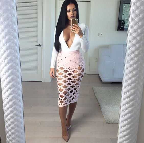 Amra Olevic Amrezy Instagram - House of CB Pink Bandage Cage Skirt