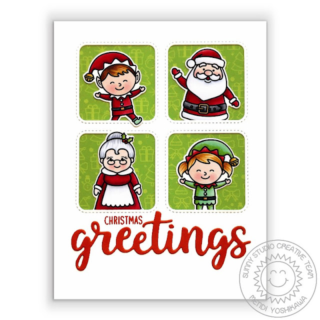 Sunny Studio Blog: Christmas Greetings Elves with Santa Claus & Mrs. Claus Stitched Grid Style Card (using North Pole Stamps, Window Quad Square Dies & greetings word from Slimline Scalloped Frame Dies)