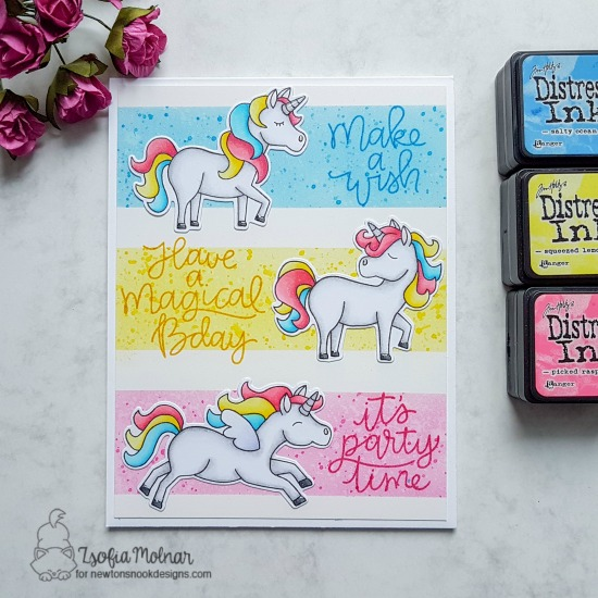 Unicorn card by Zsofia Molnar | Believe in Unicorns Stamp Set by Newton's Nook Designs #newtonsnook #handmade