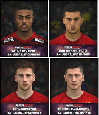 PES 2017 Bruno Henrique, Coutinho, Goretza and Lewandowsky Face by Judas