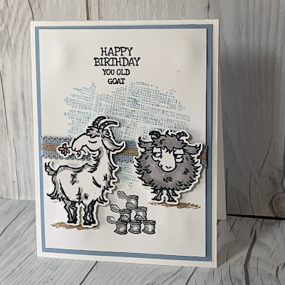 Card idea using two goat images from Stampin' Up! Way To Goat Stamp Set