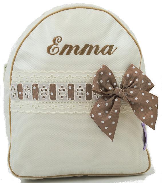 Personalisierte Rucksack für Kinder mit name beige
