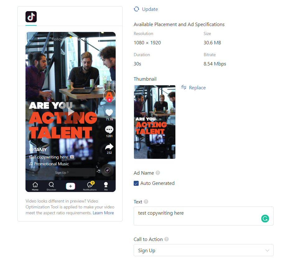TikTok ads: Ad Preview & Set Ad Copywriting