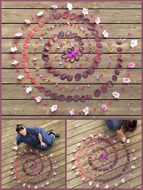 Flower mandala spiral - nature in leaves.