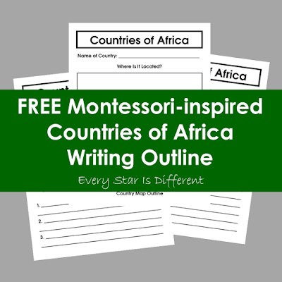 FREE Montessori-inspired Countries of Africa Writing Outline