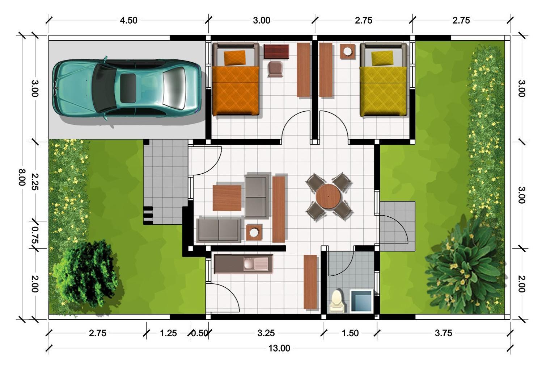 Denah Rumah Minimalis 2 Kamar Tidur Ukuran 7 X 12 REFERENSI RUMAH
