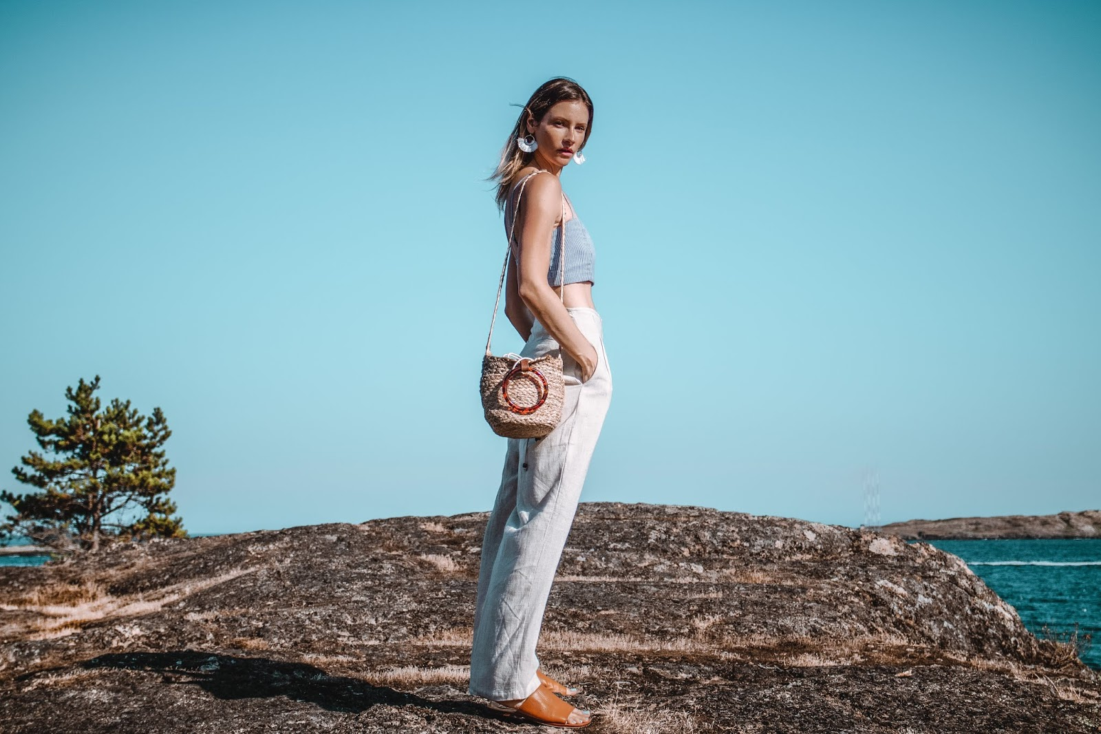Alison Hutchinson is wearing wide leg linen Lost + Wander pants from KAYVALYA