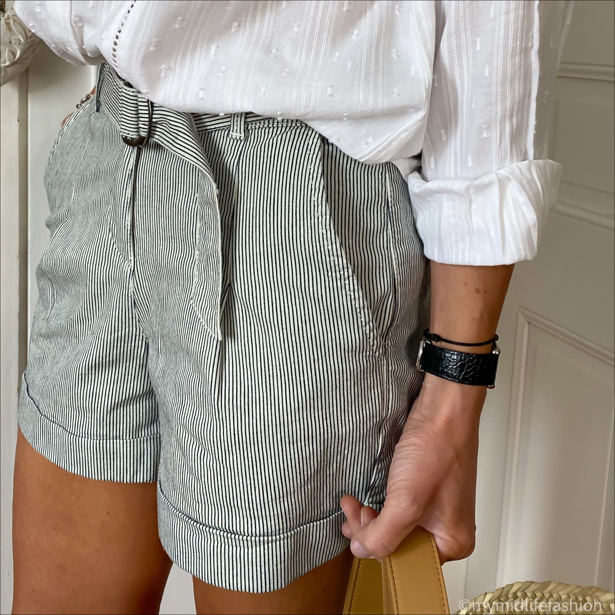 my midlife fashion, Great Plains micro cotton pinstripe shorts